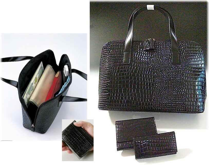【セットでお得♪】◆牛革クロコダイル型押しハンドバッグ&財布*キーケースのセット<送料込>